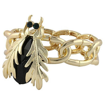 Heirloom Finds Black Crystal Scarab Gold Tone Link Stretch Cuff Bracelet