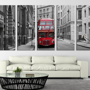 "London Wall Art - LONDON Red Bus Wall Art Print - London City Red Bus Canvas Print, Ready to Hang - Streched on Frame 1.5"" Wall Art Print"