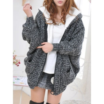 Black Womens Knitting Bat Sleeve Hooded Pocket Cardigan Sweater One Size MM0455b [8384089863]