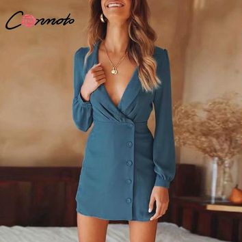 Conmoto Vintage Long Sleeve Blazer Bodycon Dress Elegant Office Short Mini Dress Sexy Chiffon Breasted Dress 2018 Fall Vestidos
