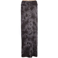 Full Tilt Tie Dye Foldover Girls Maxi Skirt Black/Grey  In Sizes