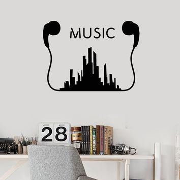 Vinyl Wall Decal Music Earphones Musical Art Urban Style Teen Room Stickers Mural Unique Gift (ig5214)