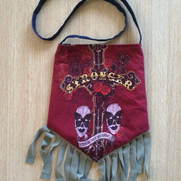 BRITNEY SPEARS - Upcycled Rock T-Shirt Fringe Purse - ooaK