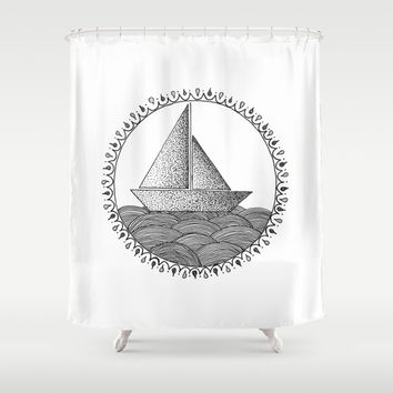 Sailing Boat Shower Curtain by Cinema4design