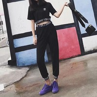 """""""Adidas"""" Women Casual Fashion Knit Letter Short Sleeve Crop Tops High Waist Slim-fit Pants Trousers Set Two-Piece"""