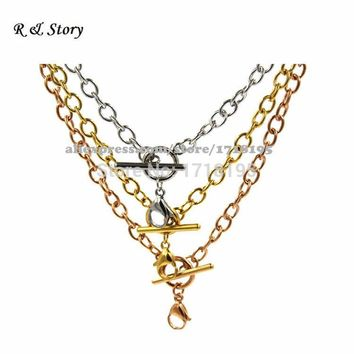 "18"" Stainless Steel Toggle Chain for Memory and Floating, Living, or Charms Jewelry Locket Necklace LFH_020"