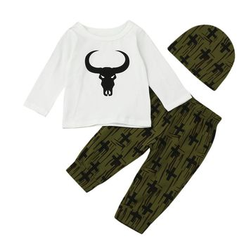 Cute Newborn Baby Girl Boy Clothes Ngau Tau Prnit Tops T-shirt Long Sleeve + Pants Casual Hat Cap 3pcs Outfits Set