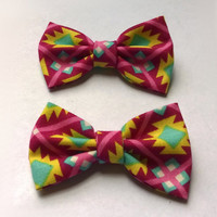 Tribal Print Bows / Aztec Tribal Hairbows / Hair Bow Clips Set / Magenta / Teal / Pink