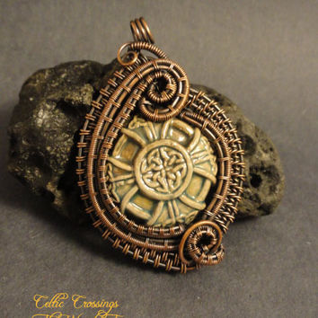 'Celtic Crossings' OOAK Ceramic Wire Wrapped by The Wired Fox on Zibbet