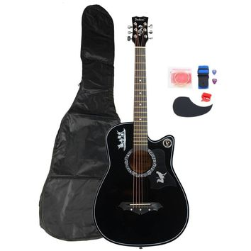 """38"""" Basswood Wood Acoustic Guitar with Bag String Pick Tuner & Accessories 8 color"""