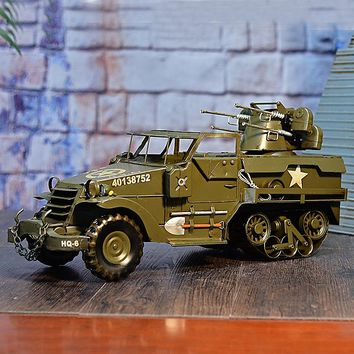 Large Scale Full-Iron Handmade Model Car - Military WWII US M2 Half Truck Car - 🎖️🇺🇸🦅🔫💣