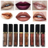 Shimmer Liquid Lipstick Professional Waterproof Matte Lipstick Metal Style Golden Nude Red Lips Batom Makeup