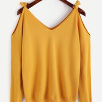 Yellow Cold Shoulder Jersey Sweater