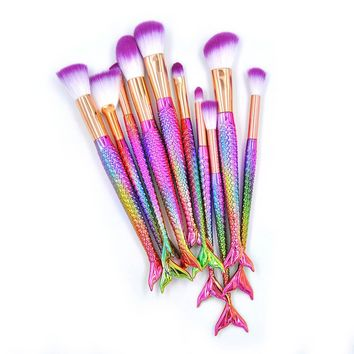 Mermaid Makeup Brushes Unicorn Brush 10Pcs Foundation Powder Eye shadow Brush Sets Cosmetic Rainbow maquillage Makeup Brushes