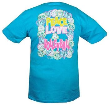 Bjaxx Peace Love Volleyball Blue Zebra Sports Girlie Bright T Shirt