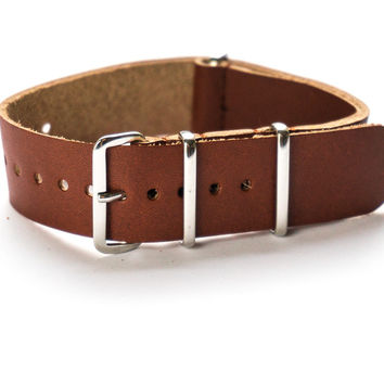 LEATHER NATO STRAP SIENNA BROWN