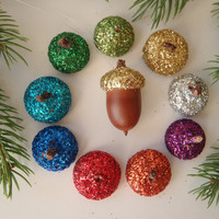 6 Made to Order Acorn Christmas Tree Ornament Natural Acorn with Glitter Cap / Handmade Ornament by FeistyFarmersWife