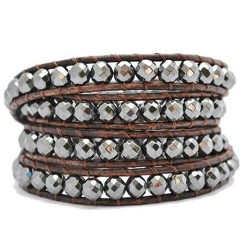 HEMATITE WRAP BRACELET ON BROWN LEATHER