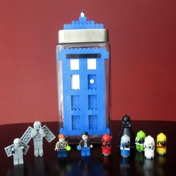 Lego Glass Candy/Keepsake Jar~LEGO Dr. Who T.A.R.D.I.S. & LEGO Blocks.LEGO party,Minifigures,Home Decor,Birthday Gift,Centerpiece