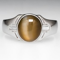 Mens Cats Eye Chrysoberyl Ring Diamond Accents Platinum