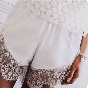 Boho Shorts White Shorts Lingerie White Lace Trim Shorts White Skirt White Lace Women's Shorts Maternity Shorts Short Shorts Lounge Shorts