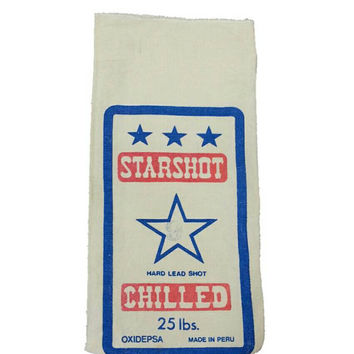 Canvas Lead Shot Bag, Fabric, Starshot, Man Cave, Bar Decor, Game Room, Hunting,Magnum Lead Shot,Red White Blue,Craft, Upholstery, Textile