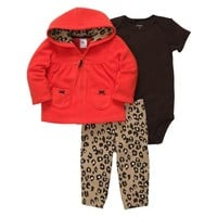 Carters Infant Girls 3 Piece Set Brown Leopard Print Pants Creeper & Red Hoodie
