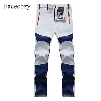 Facecozy Men Thicken Outdoor Softshell Pants Windproof Fleece Thermal Winter Men Sports Trousers Trekking Hunting Fishing Pants