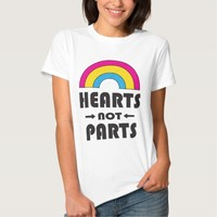 Hearts Not Parts Pansexual LGBT Pride Tee Shirts