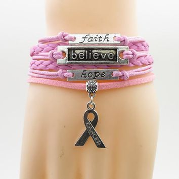 faith believe hope Charm Breast cancer  Awareness pink wrap leather bracelets