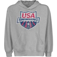 USA Swimming Youth Distressed Crest Pullover Hoodie - Ash