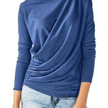 Chicloth Blue Long Sleeve Draped Round Neck T Shirt