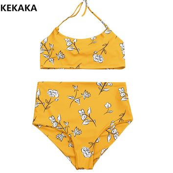 KEKAKA Vintage Yellow Floral Print Swimwear Women 2017 High Waist Padded Bandeau Bikini Bathing Suit Female Halter Biquini S-L