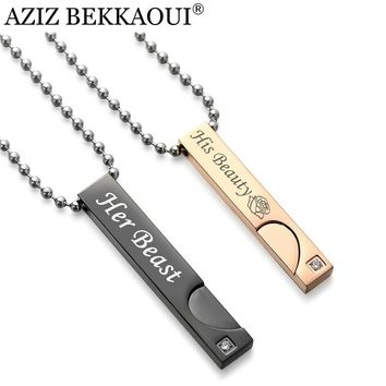 Cool AZIZ BEKKAOUI Angel & Demon Couple Necklaces Beauty & Beast Pendant Necklace for Lover King & Queen Christmas Gift Drop ShippingAT_93_12