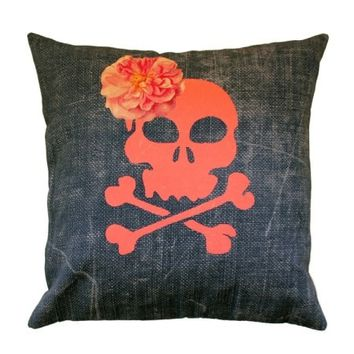 Skull Denim Throw Pillow