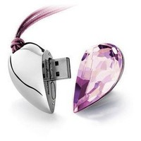 8GB Shiny Crystal Heart Shape USB Flash Drive with Necklace,light pink:Amazon:Computers & Accessories