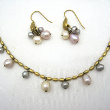 Vintage Avon Necklace and Earrings - Pink Pearls Jewelry Set