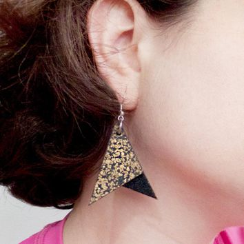 Large Triangle Dangle Cork Earrings