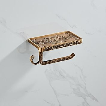 Bathroom Hardware Set  ANTIQUE GOLD Paper Mobile Phone Holder Space Aluminum Antique Roll Holder with Shelf Toilet Paper Box Wall Mount