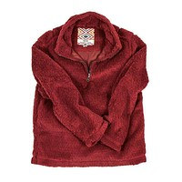 CHILD'S Silky Pile Pullover 1/4 Zip in Red by True Grit