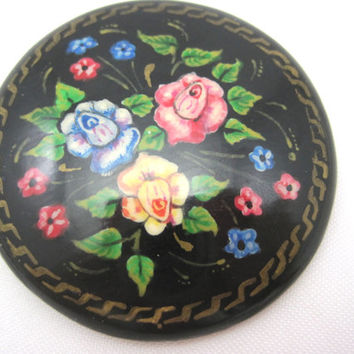 Vintage Hand Painted Brooch - Russian Folk Art