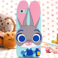 For GalaxyS5 S7 S6 Edge 5309 Catoon Rabbit Judy Cover For Apple iPhone6 6s/6S Plus 6 Plus/5S SE Zootopia Animal Bunny Phone Case