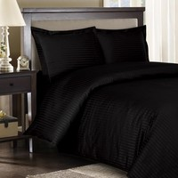 Stripe Black Down Alternative Bed in A Bag Combed cotton 600 Thread count