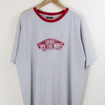 VANS RINGER TEE // vans tshirt / vans shirt / red ringer / gray grey / skater / skateboarding / off the wall / vintage / adult / xl