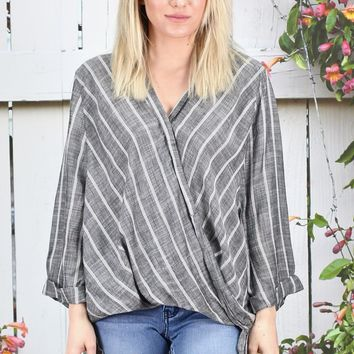 ELAN: 3/4 Sleeve Surplice Striped + Gathered Blouse {Charcoal}