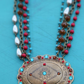 Flower Concho Necklace