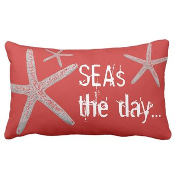 Seas The Day White Starfish On Red Lumbar Pillow