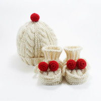 Knitted Baby Hat and Booties - White and Red, 0 - 3 month