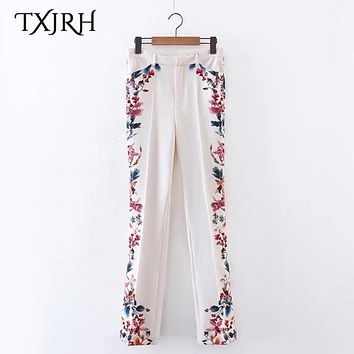 TXJRH Vintage Ethnic Floral Print Flare Pants Fashion Women High Waist Full Length Pants Trousers Casual Pantalones K17-02-50
