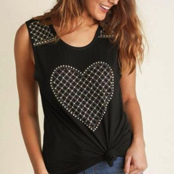 Vocal Rhinestone Studs Heart Tank - Black